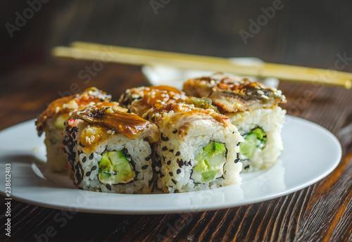 sushi rolls with eel