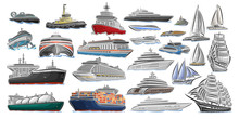 Vector Set Of Different Ships And Boats, Collection Of Isolated Water Transport Icons, Cut Out Design Illustration Of Polar Ice Breaker, Hover Craft, Jet Ski, Super Fuel Tanker, Tug Boat, Mega Yachts.