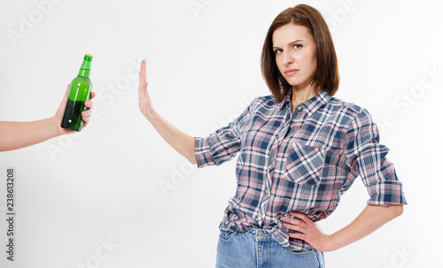 woman, girl refused alcohol drink isolated on white background Canvas Print