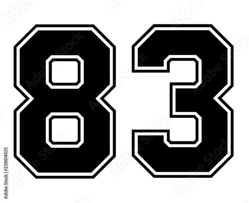 Fotografia Classic Vintage Sport Jersey Number 83 in black number on white background for american football, baseball or basketball / logos and t-shirt