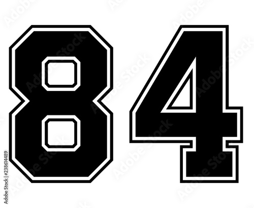 Fotografia  Classic Vintage Sport Jersey Number 84 in black number on white background for american football, baseball or basketball / logos and t-shirt