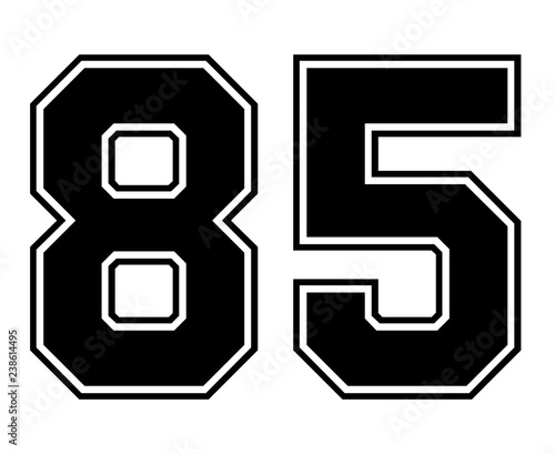 Fotografia  Classic Vintage Sport Jersey Number 85 in black number on white background for american football, baseball or basketball / logos and t-shirt