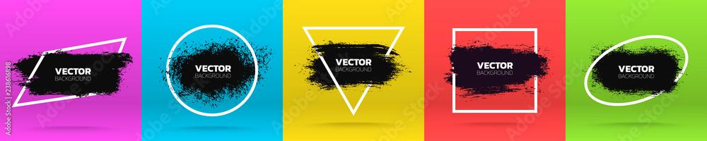 Fototapeta Grunge backgrounds set. Brush black paint ink stroke over various frame. Vector illustration
