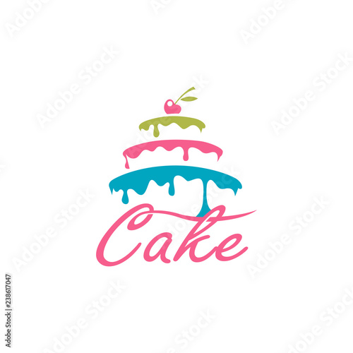 design of sweet cake with berry isolated on white background Poster Mural XXL