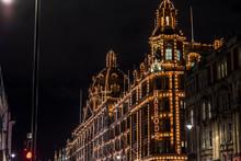 LONDON, UNITED KINGDOM - NOV 13, 2018: Night Shoot, Harrods Department Store On Brompton Road In Knightsbridge. Christmas Period.