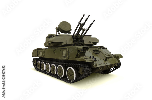 Photo Russian antiaircraft self-propelled installation Shilka on white background