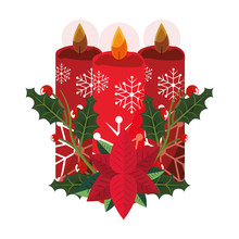 Christmas Candles Flower Poinsettia Decoration