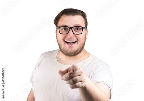 Photo  Content man pointing at camera