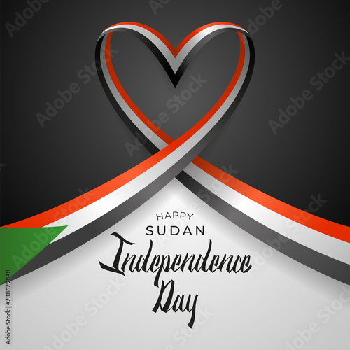 Fényképezés  Republic of the Sudan Independence Day Vector Template Design Illustration