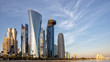 Leinwandbild Motiv DOHA, QATAR - 31 January 2016: Skyscrapers in the Dafna district of Doha t sunset, with the Sheraton hotel on the right,
