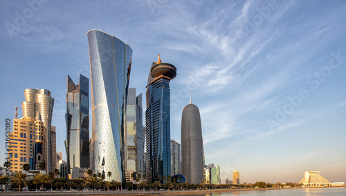DOHA, QATAR - 31 January 2016: Skyscrapers in the Dafna district of Doha t sunset, with the Sheraton hotel on the right,