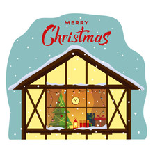 Christmas Window With Lights. Xmas Room With Christmas Tree And Lamp, Gifts On Window Sill. Flat Style Vector Illustration. Merry Christmas Hand Lettering. EPS 10