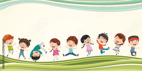 Vector Illustration Of Happy Children Slika na platnu