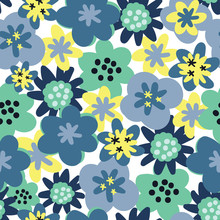Vector Seamless Pattern Background Flower Seamless Pattern. Daisies Background