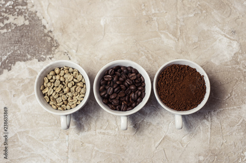 Photo Stands Cafe Different types of coffee - ground, grain and unroasted