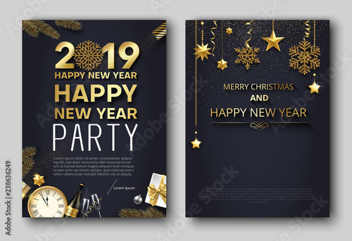 Staande foto Retro sign Merry Christmas and New Year 2019 party poster or invitation templates.