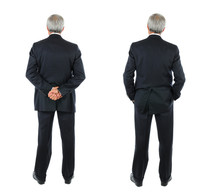 Two Images Of The Same Middle Aged Businessman Seen From Behind