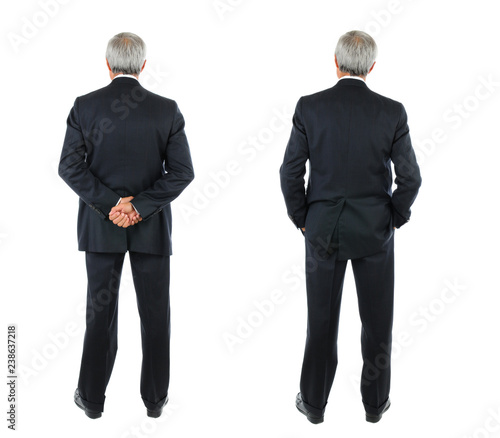 Obraz Two images of the same middle aged businessman seen from behind - fototapety do salonu