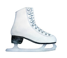 Recreational Figure Ice Skates With Metal Blade For Women, Girls, Kids. One Single Object, Classic Style, Side View. Hand Drawn Watercolour Painting On White Background, Cutout Clip Art Element.