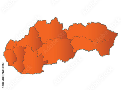 Fototapeta Slovakia Republic map Orange separate region individual blank raster