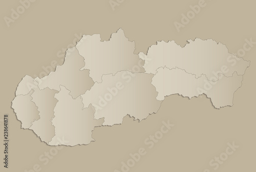 Fotografia  Slovakia Republic map with individual states separated, infographics raster