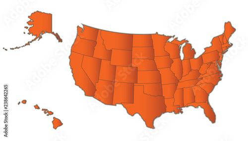 USA map with Alaska and Hawaii Orange separate states individual ...