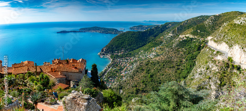 Panoramic aerial view of French Riviera, from Eze village in summer season, surr Wallpaper Mural