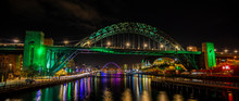 Newcastle Upon Tyne At Night Quayside Tyne Bridge