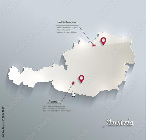 Austria map blue white card paper 3D vector Canvas Print