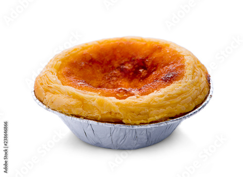 Papel de parede Egg tart sweet custard pie in foil cup isolated on white background