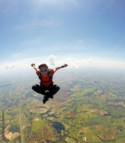 Skydiver meditation position