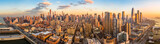 Fototapeta Nowy Jork - Aerial panorama of New York skyline above Hudson Yards midtown Manhattan skyscrapers on a sunny afternoon