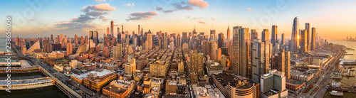 Fototapeta Aerial panorama of New York skyline above Hudson Yards midtown Manhattan skyscrapers on a sunny afternoon obraz