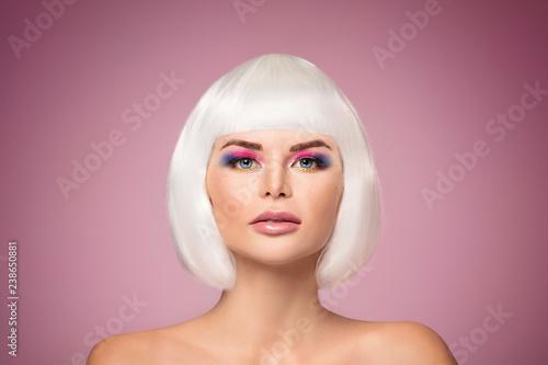 Photo  Beauty portrait, woman in colorful makeup.