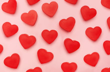 Flat View Of Valentines Hearts  On Pink Background