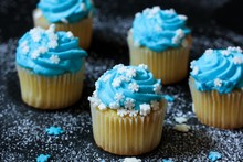 Mini Cupcakes With Blue Frosti...