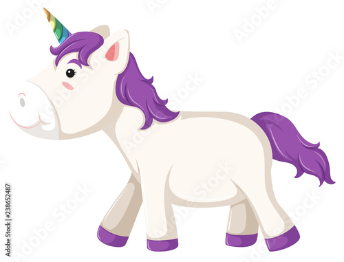 Deurstickers Pony A unicorn character on white background