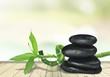 Zen basalt stones and leaves on desk