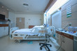 perspective view of hospital single patient room fully furnished