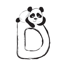 Panda Bear Cute Animal English Alphabet Letter D With Cartoon Baby Illustrations