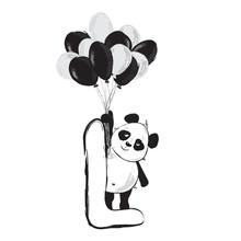 Panda Bear Cute Animal English Alphabet Letter L With Cartoon Baby Illustrations