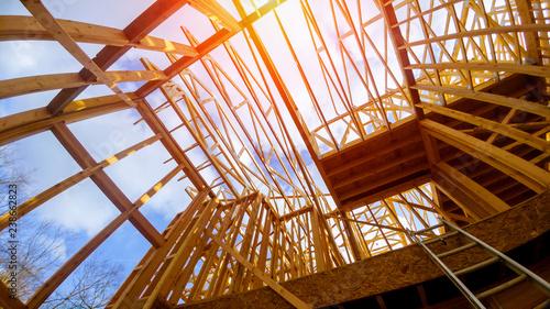 Obraz New construction framing house with frame - fototapety do salonu