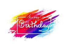 Happy Birthday, Watercolor Col...