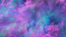 Abstract Blue And Violet Surreal Clouds. Expressive Brush Strokes. Fractal Background. 3d Rendering.