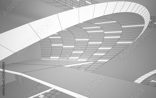 In de dag Theater Abstract white interior highlights future. Polygon drawing . Architectural background. 3D illustration and rendering