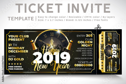 Invitation Ticket Party New Year Invite Gold Champagne