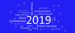 Leinwanddruck Bild - Karte Neujahr 2019 mit blauem Hintergrund