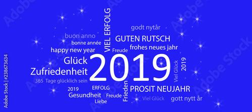 Fényképezés  Karte Neujahr 2019 mit blauem Hintergrund