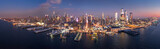 Fototapeta Nowy Jork - Aerial panorama of the entire Manhattan island at dusk