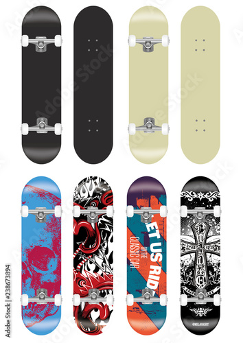 skateboard vector template illustration set (with backside design collection) Canvas-taulu